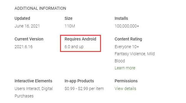 Check Requres Android OS