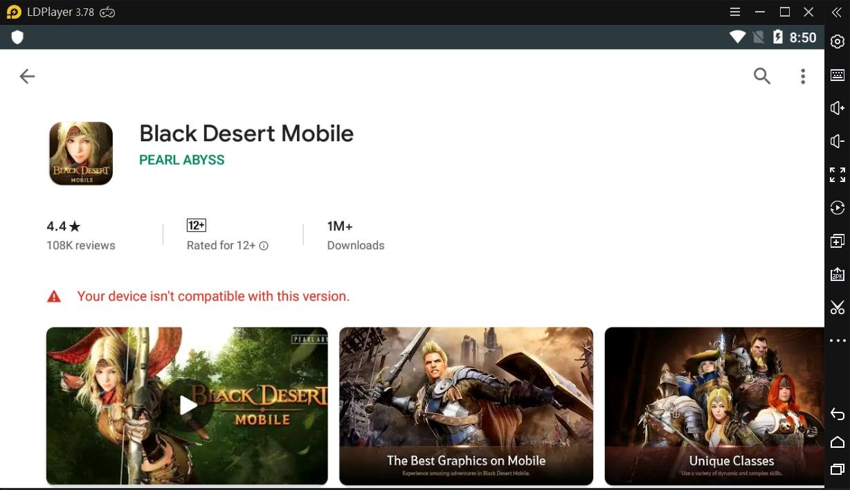 A solution to Your device isn't compatible with this version on Play Store on LDPlayer