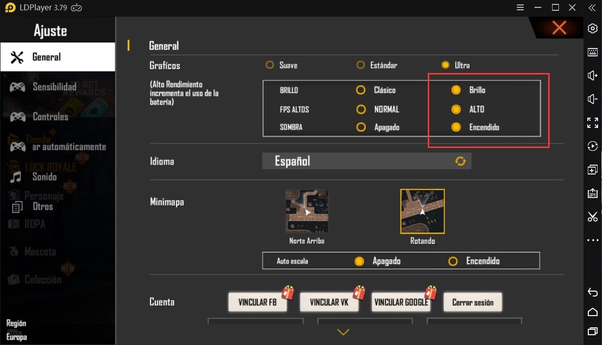 ¿Cómo jugar Free Fire a altas FPS en emulador?