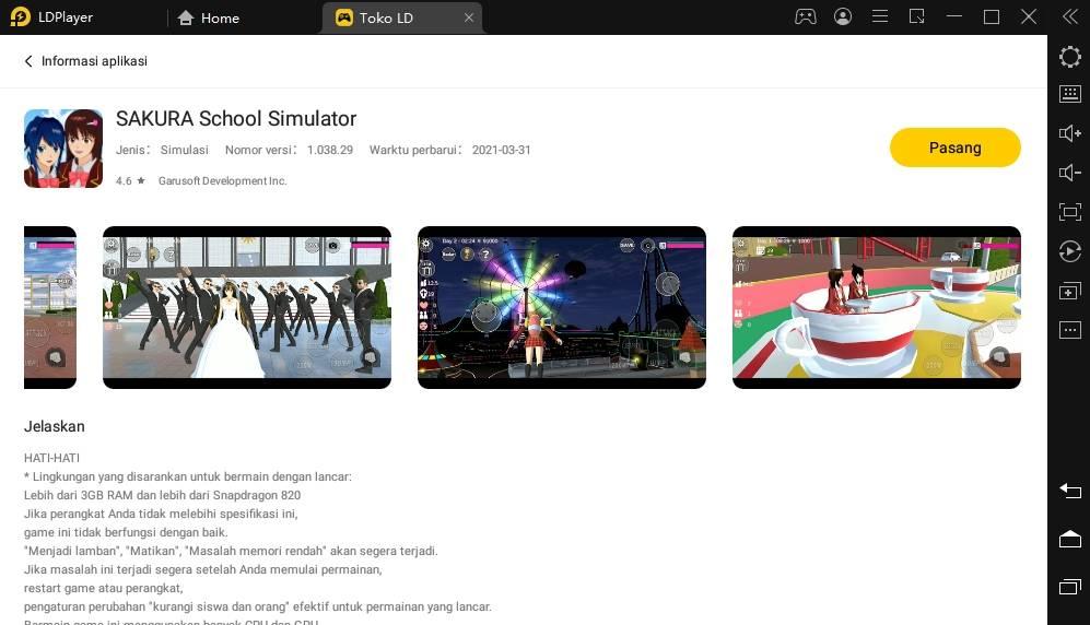 Bermain Game Open World, SAKURA School Simulator di PC!