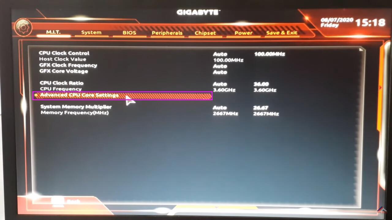 Habilitar Tecnologia de Virtualização (VT) - GIGABYTE