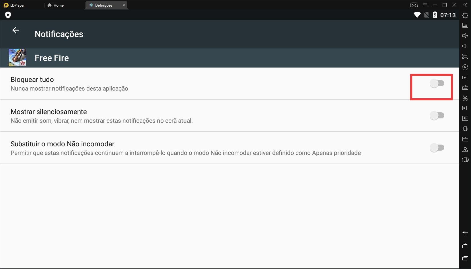 Desative as notificações no LDPlayer para reduzir o uso da CPU